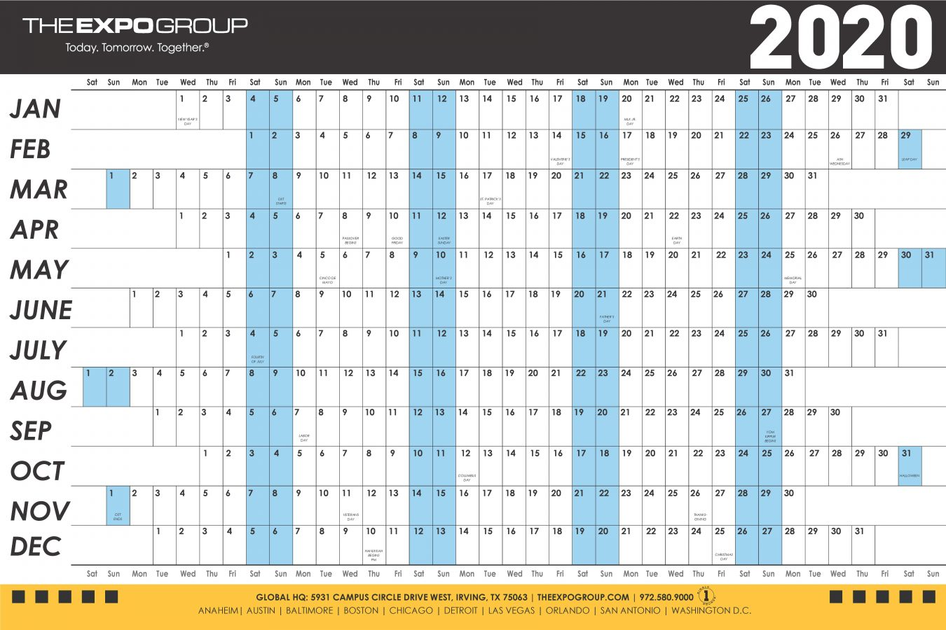 The Expo Group Calendar for 2020